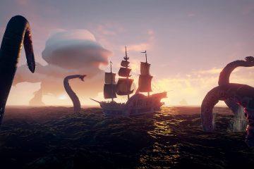 Битва пиратской команды a Sea of Thieves с Кракеном