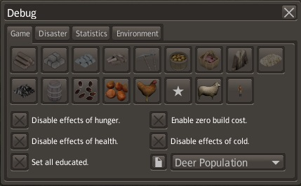Banished Debug Menu