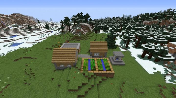 Деревня, окруженная снегами