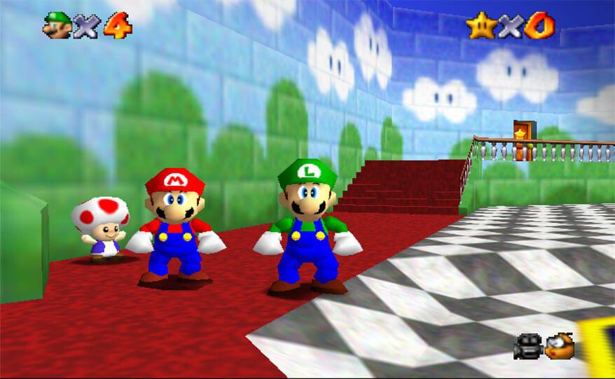 Луиджи из Super Mario 64 играбелен