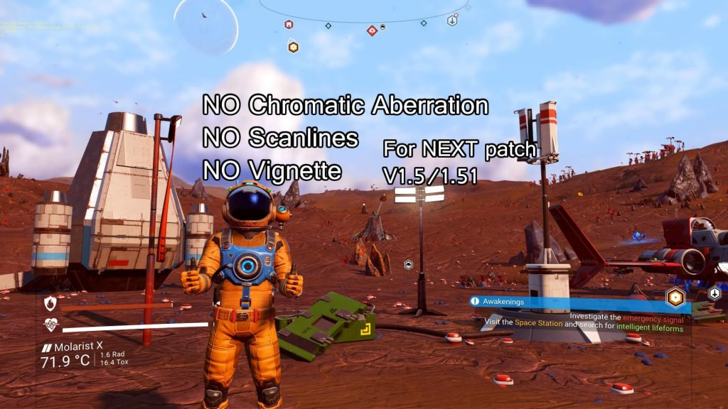 Мод удаляет хроматические аберрации, сканирующие линии и эффекты виньетки из No Man's Sky NEXT