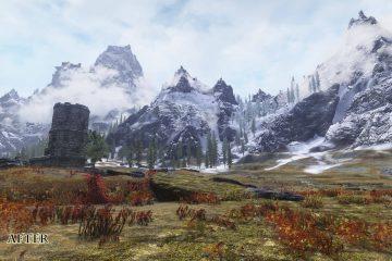 Моды для Skyrim заменяют размытые LOD текстуры высококачественными 2K текстурами, а также удаляют цветные полосы на небе