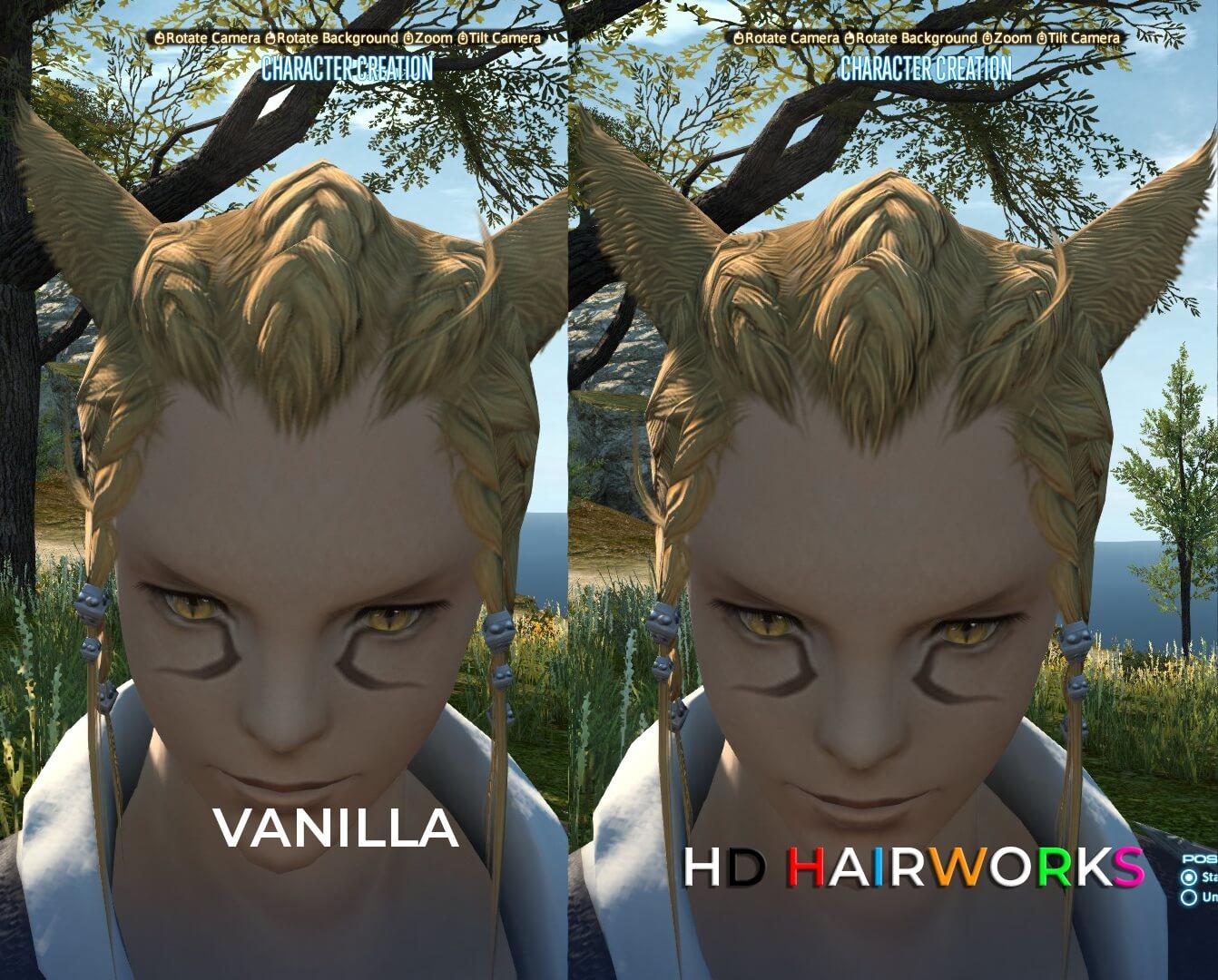 Мод HD Hairworks 2 для Final Fantasy XIV, содержащий более 700