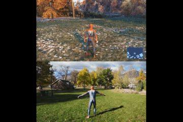 Косплеер имитирует движения из последней игры про Человека-Паука