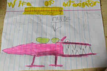 Таинственный концептуальный дизайн для босса-монстра в Даск (Dusk) был нарисован шестиклассником