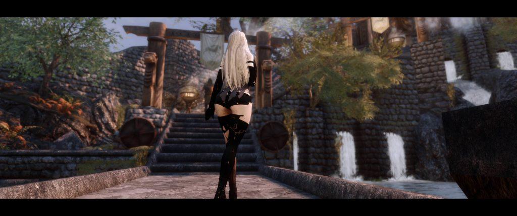 В новом моде Nier Automata великолепно сочетается со Skyrim