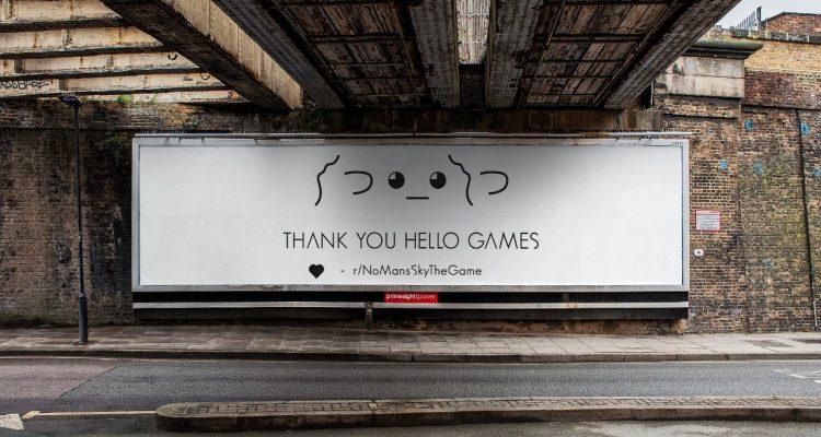 Поклонники No Man's Sky купили рекламный щит, чтобы выразить благодарность Hello Games