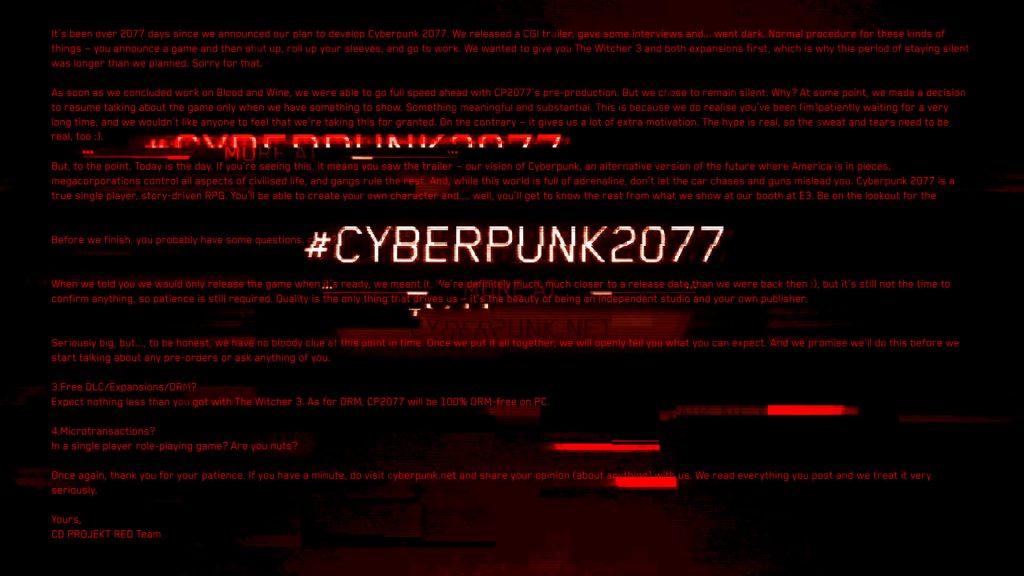 Зашифрованное сообщение Cyberpunk 2077 в 2019 году
