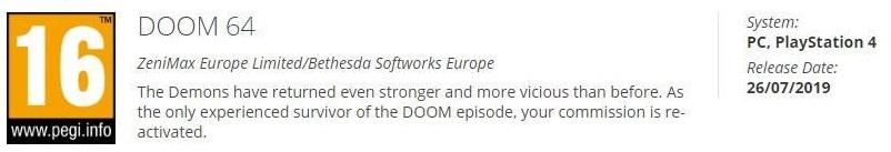 Утечка раскрывает дату выхода Doom 64 на ПК и PS4