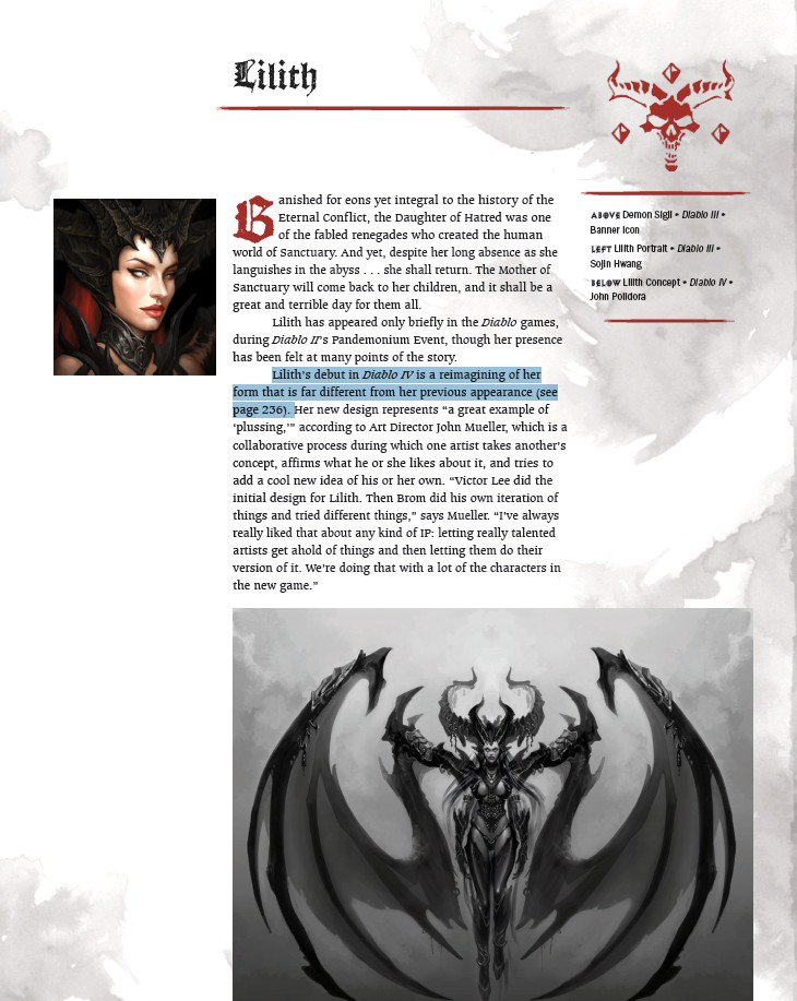 Лилит вернётся в Diablo 4, новая утечка из артбука