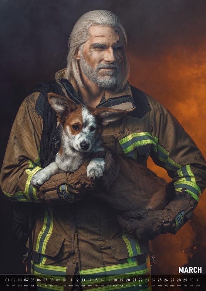 Геральт в качестве пожарного, футболиста и рок-звезды