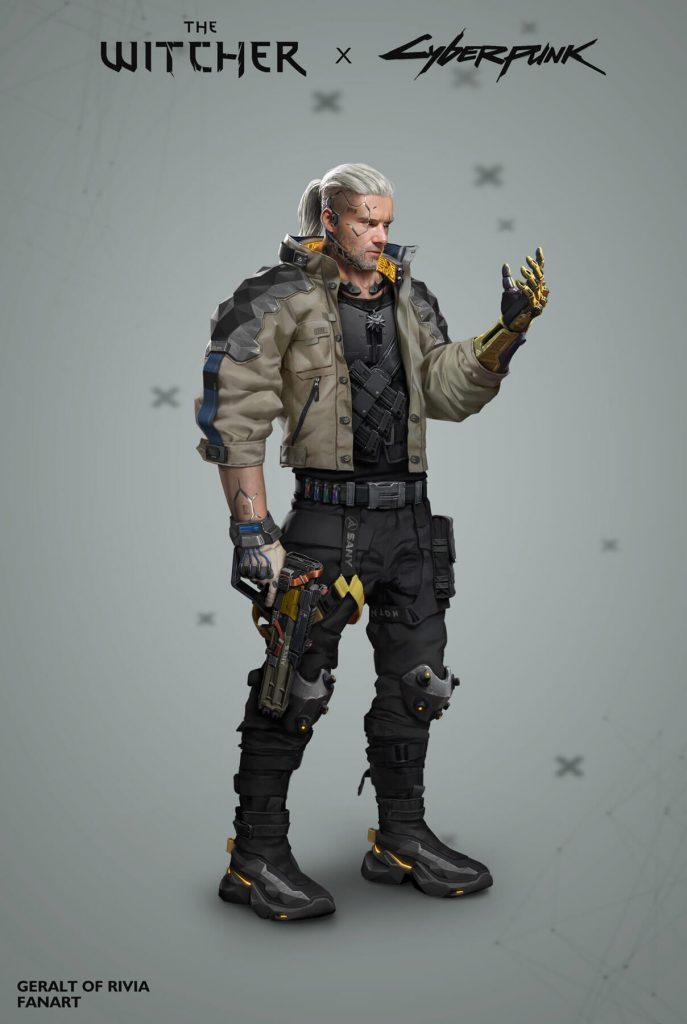 Фанарт Cyberpunk 2077 —ведьмак Геральт в ночном городе