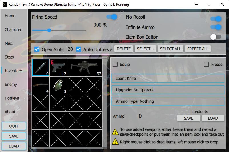 Ultimate Trainer – мод для ремейка Resident Evil 3