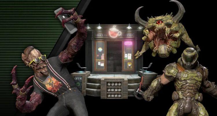 Новый скин в Doom Eternal превращает Архвиль-кайдзю в бариста