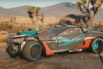 Cyberpunk 2077 с большой пустынней за территорией города