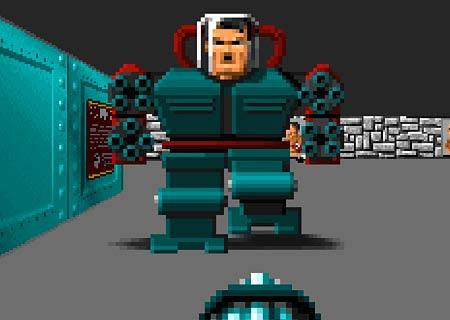 Сражение с меха-Гитлером в Wolfenstein 3D
