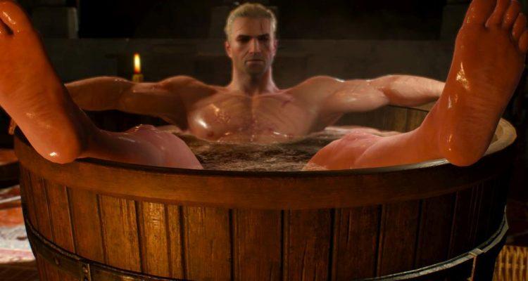 Геральт в ванне из Ведьмака 3