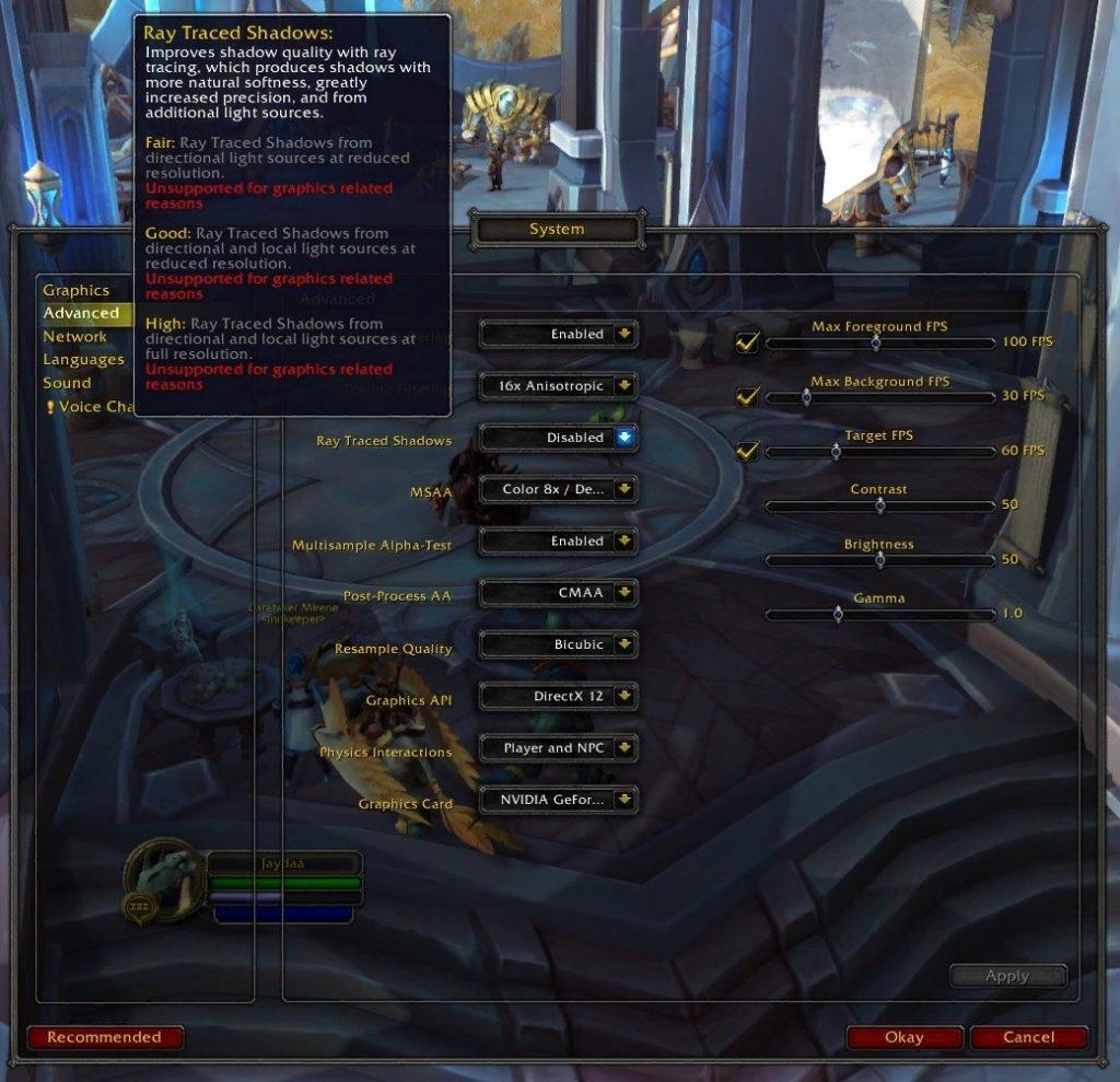 World of Warcraft получит поддержку трассировки лучей