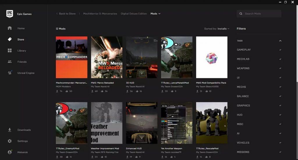 В Epic Games Store появилась поддержка модификаций