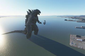Годзилла дебютировал в Microsoft Flight Simulator, благодаря моду