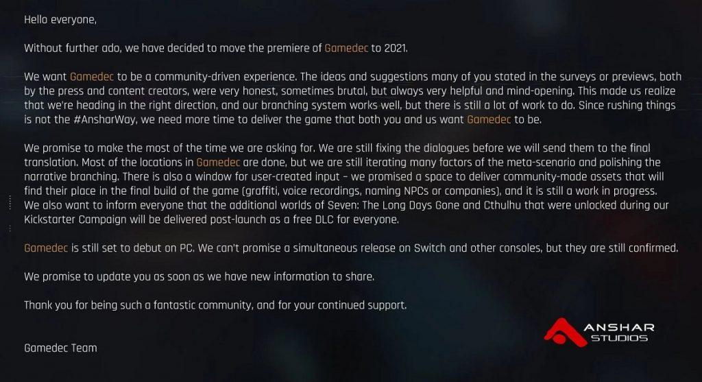 Премьера Gamedec перенесена на следующий год