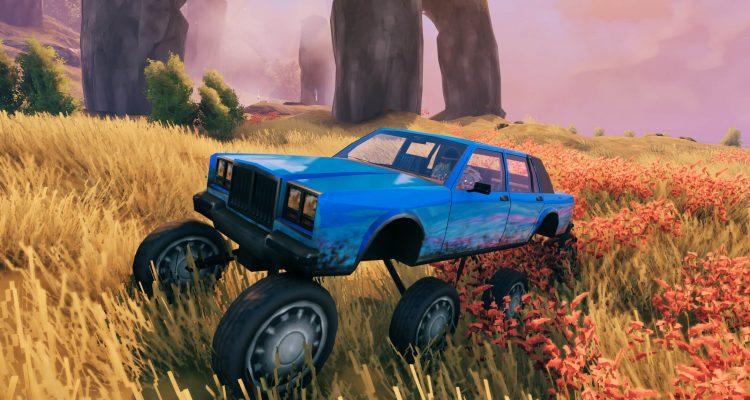 Мод для Valheim добавляет в игру ярко-синий автомобиль